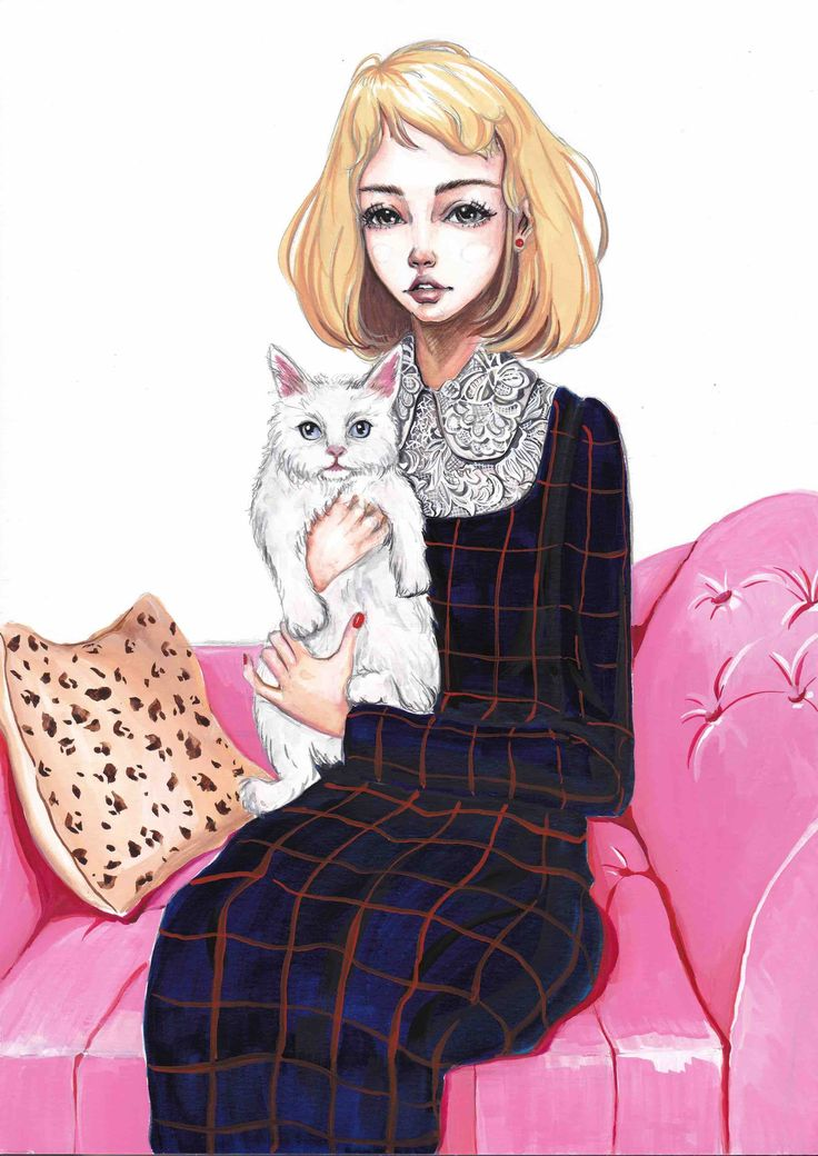 """Cat Lover""  2016 gouache painting by Olivia Au @oliviaumeiwa"