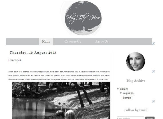 Black and White V1  Premade Blogger Template   by Symufathemes, $25.00