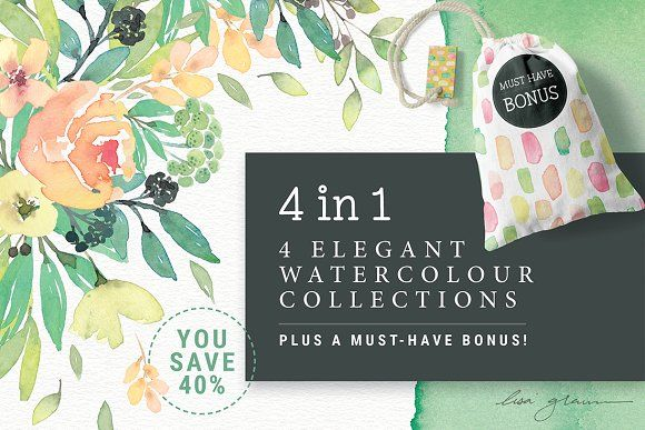 4in1 Elegant Watercolour collections by Lisa Glanz on @creativemarket