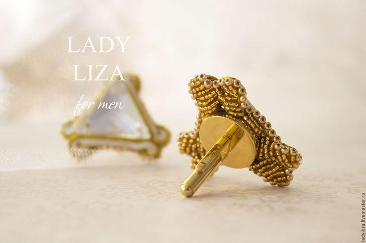 Купить Свадебные запонки для мужчин Ручная работа Сутажная техника - золотой, запонки, женские запонки