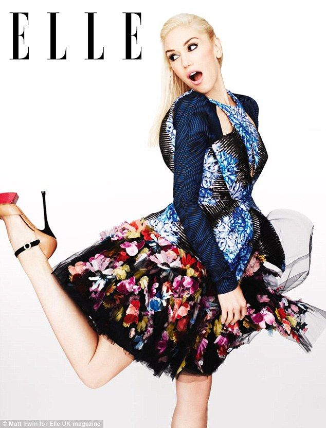 This is a great pic of Gwen!   High-fashion: Gwen Stefani looks lovely in florals as she poses for British Elle magazine