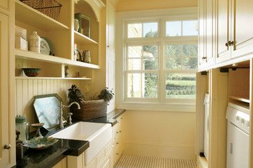 Traditional Laundry small laundry room Design Ideas, Pictures, Remodel and Decor  Would like the open shelf wall cabinets