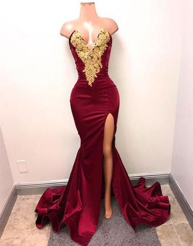 burgundy mermaid long prom dress, evening dress with side slit,BD17042409