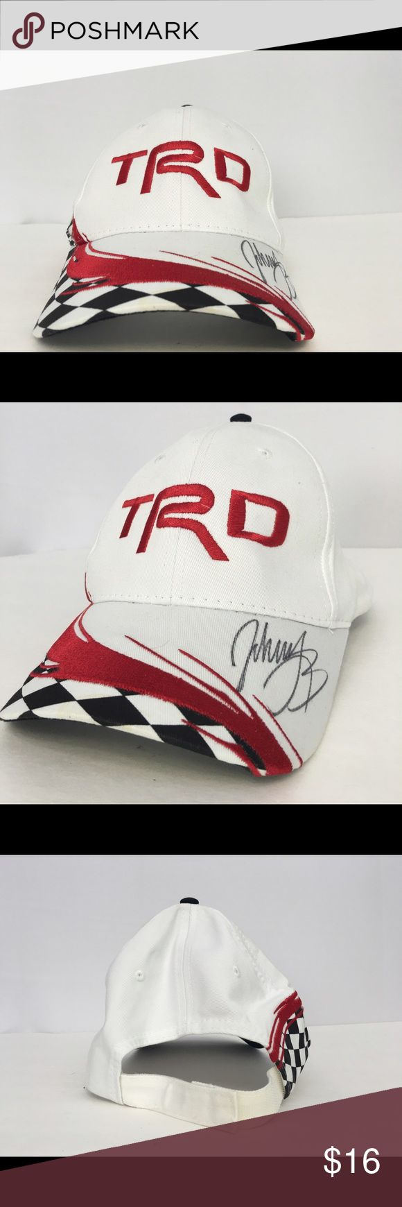Toyota Racing signed by Johnny Benson Jr. Toyota Racing Development (TRD) signed by Johnny Benson Jr.  Velcro back. Toyota Accessories Hats