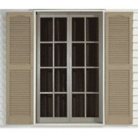 Close up of L1 Exterior Vinyl Shutters Installed on a Window