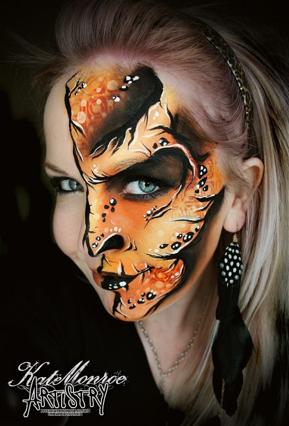 Monster face paint body art; This is really beautiful work