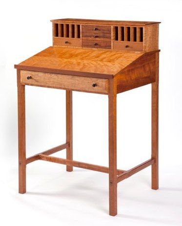 """Furniture Craftsman - Rex White's ~ """"Tall Desk ~ Curly Cherry Wood""""  57"""" x 37"""" x 29.25.  First Place Award - 2009 - Traditional Style - TX Furniture Makers Show - Kerrville, Texas.  Available to see at RS Hanna Gallery in Fredericksburg, Texas."""