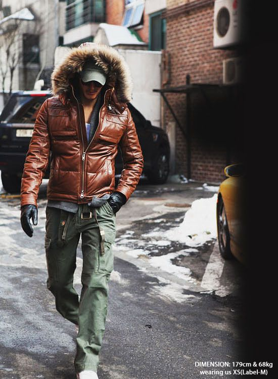 Outerwear :: Leather Jackets :: Badass Hooded Down Leather parka-Leather 09 - Mens Fashion Clothing For An Attractive Guy Look