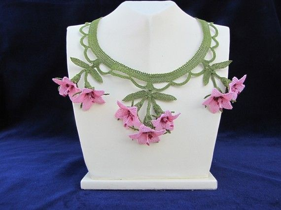Pink Fuschia Floral Vintage Necklace by berratosun on Etsy, $79.00