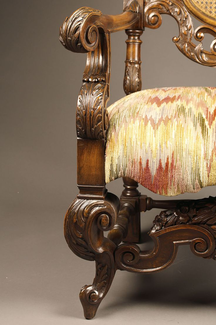 Hand carved amp upholstered chair late 1800 s grand rapids mi area - Pair Of Carved Arm Chairs