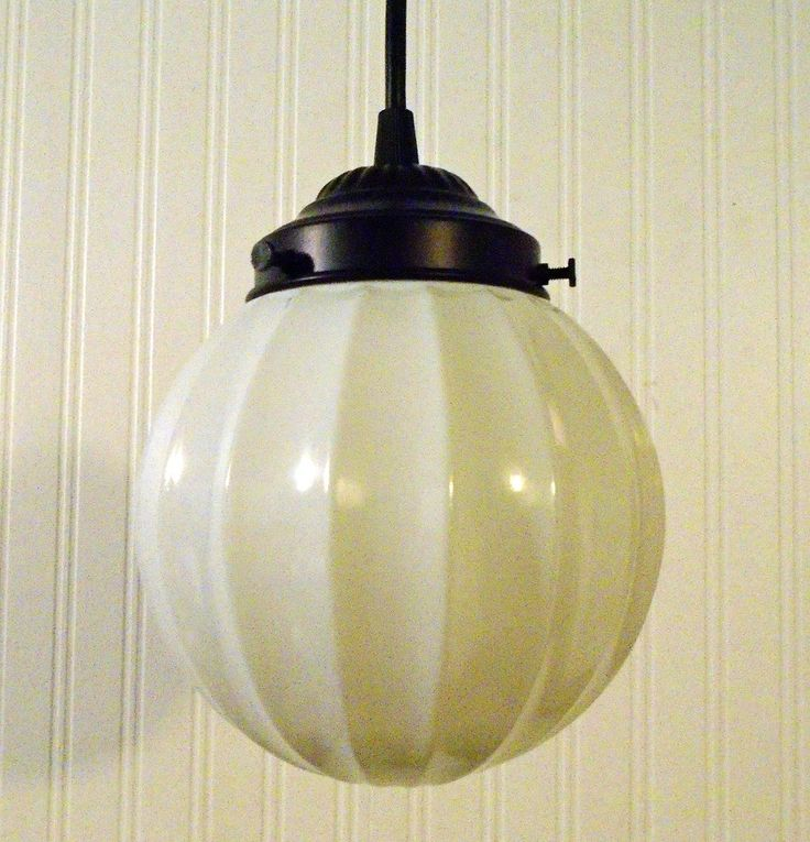 Vintage BEEHIVE Milk Glass PENDANT Light