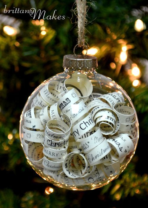 Ornaments full of curled paper. Bits of favorite books (although I generally dislike ripping up books, even for art -- copied pages maybe?), text message transcripts, watercolored pictures, etc.