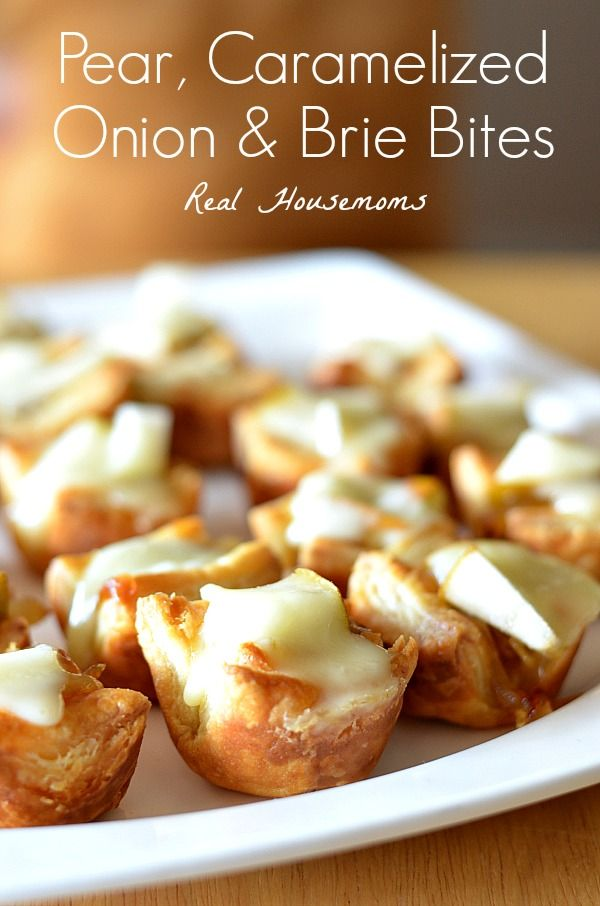 Pear, Caramelized Onion & Brie Bites | Real Housemoms | These are so good and they go fast!