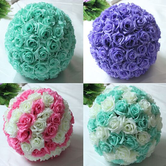 """8 """" ( 20 cm ) Tiffany azul decorações de casamento Artificial Rose bola de flores de seda peças centrais hortelã decorativo pendurado bola flor vinho(China (Mainland))"""