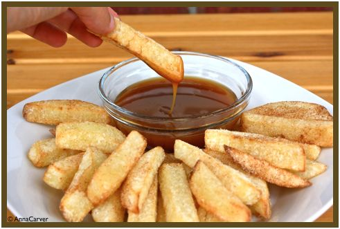Crispy apple fries w/ cinnamon sugar and caramel dipping sauce