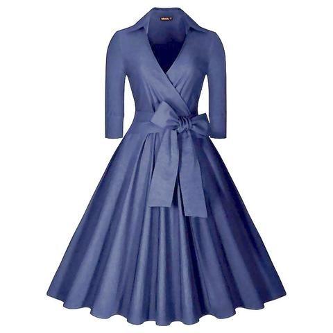 Belted Blue Long Sleeve Vintage Dress
