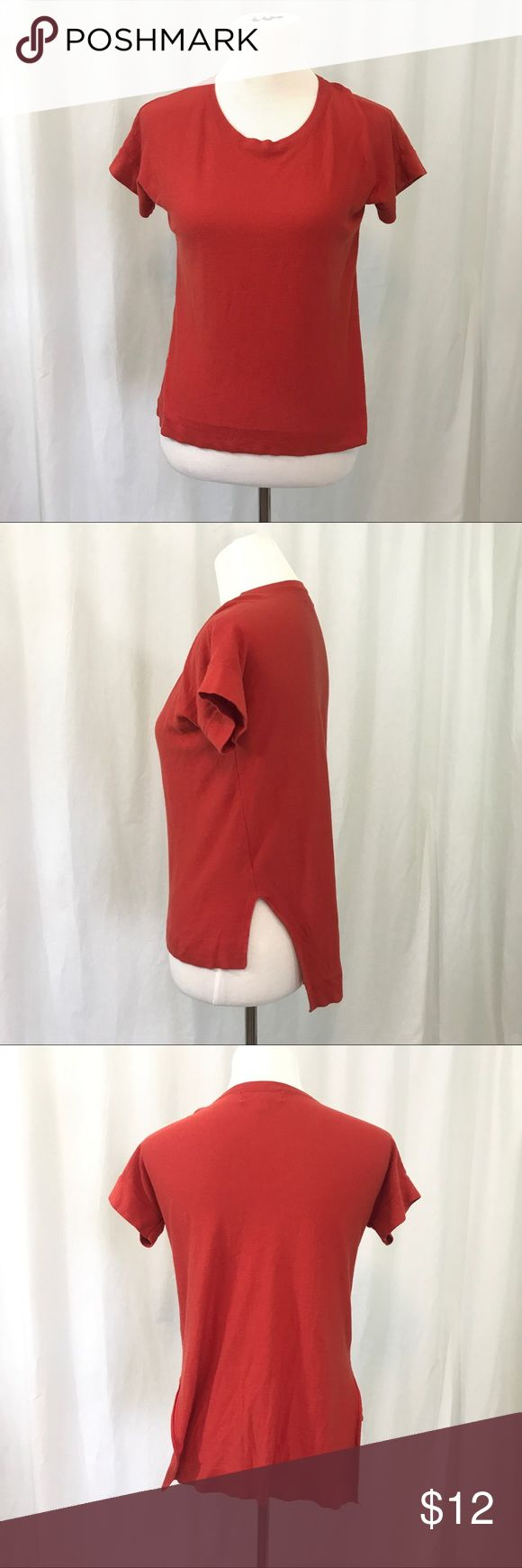 Philosophy Orange Tunic  Style Short Sleeve Top S EUC. Orange Short Sleeved Shirt . Size Small Bust  40 Length 21 in front. 26 in back Philosophy Tops Blouses