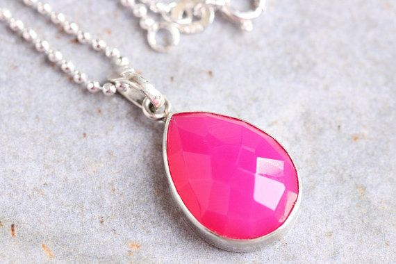 Pink Pendant  Chalcedony Pendant Drop Pendant  Bezel by Studio1980, $55.00