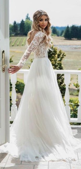 Long sleeve see through lace rustic wedding dresses.#bohowedding #bohoweddingdresses #weddingdresses #weddingdress #weddings #weddinginspiration #beachwedding #vintagewedding #longsleeveweddingdress #laceweddingdresses #rusticweddingdress #winterwedding