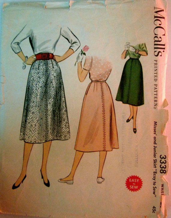 McCalls 3338 Womens 1950s Vintage Skirt Pattern by Denisecraft, $7.99