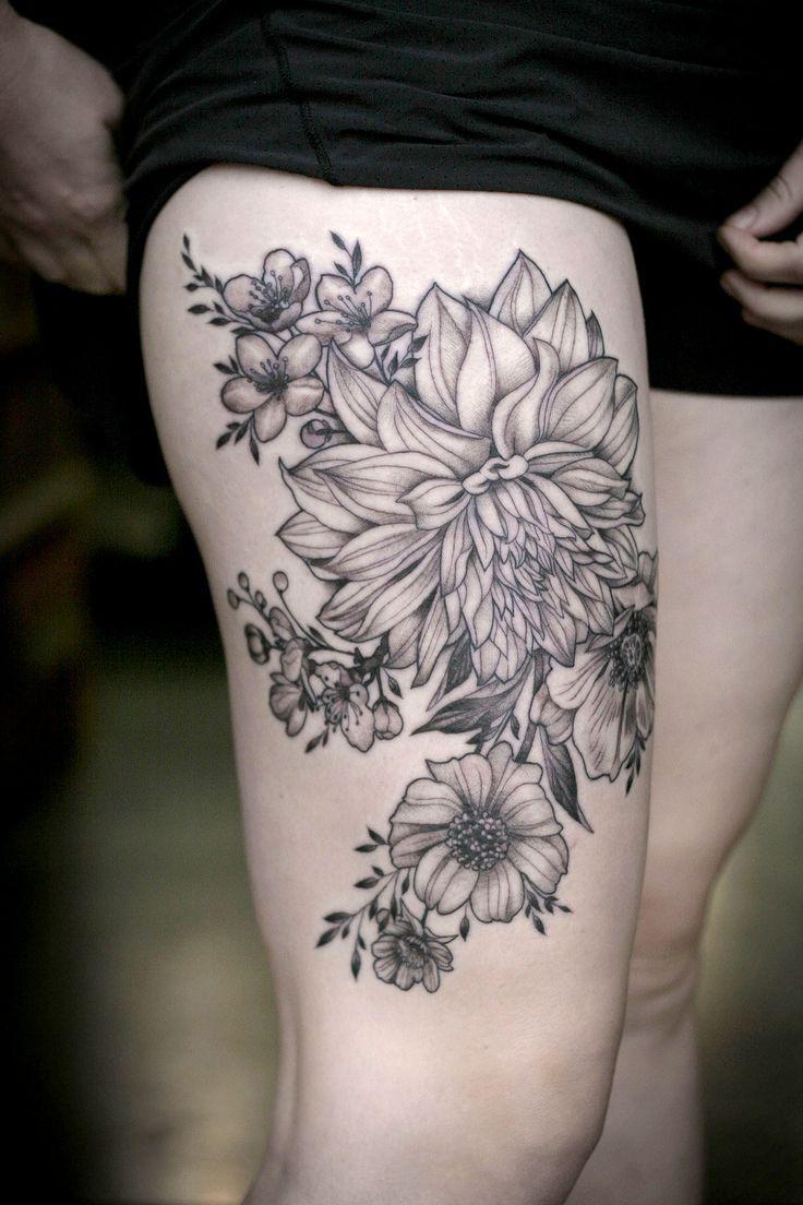 Dahlias and garden flowers by Alice Kendall at Wonderland Tattoo in Portland, OR wonderlandtattoos...