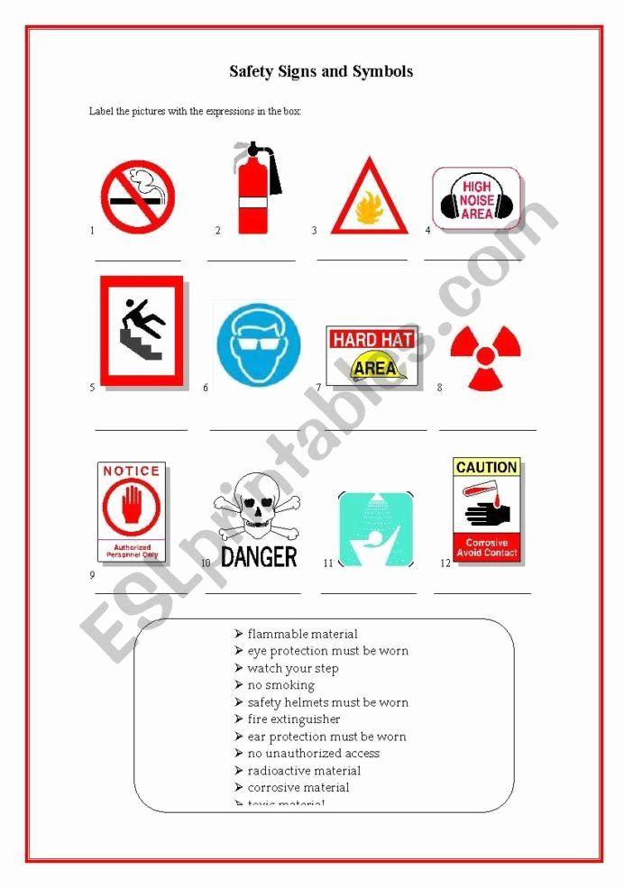 Safety Signs Worksheets Free Lovely Safety At Work Esl Worksheet By Jungle Worksheets Kindergarten Worksheets Worksheets Free Kids Worksheets Printables
