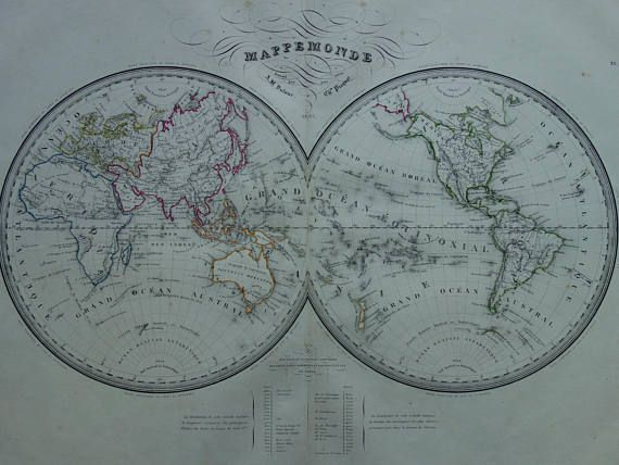 Old WORLD MAP 1840 Large original antique hand-colored print