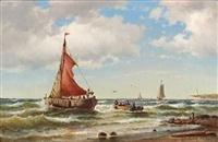 Carl Bille (1815-1898): Fiskerbåde i brændingen