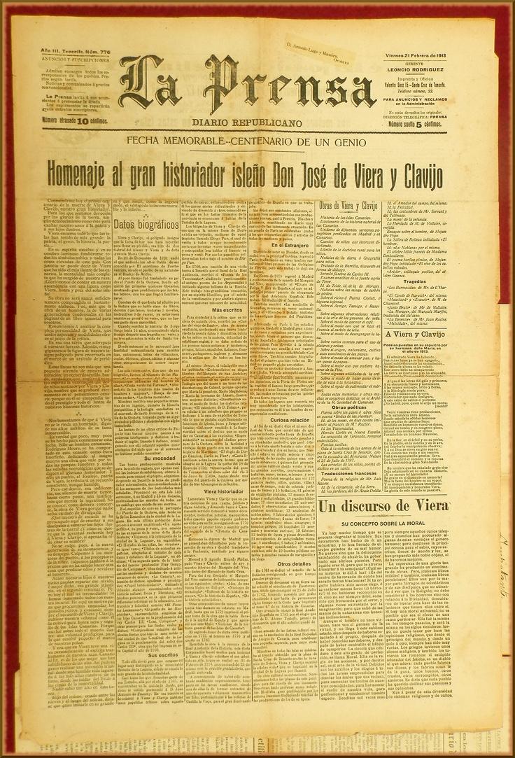 La PRENSA : diario republicano. – Santa Cruz de Tenerife : [s.n.], 191º-1938 (Imprenta de Leoncio Rodríguez)