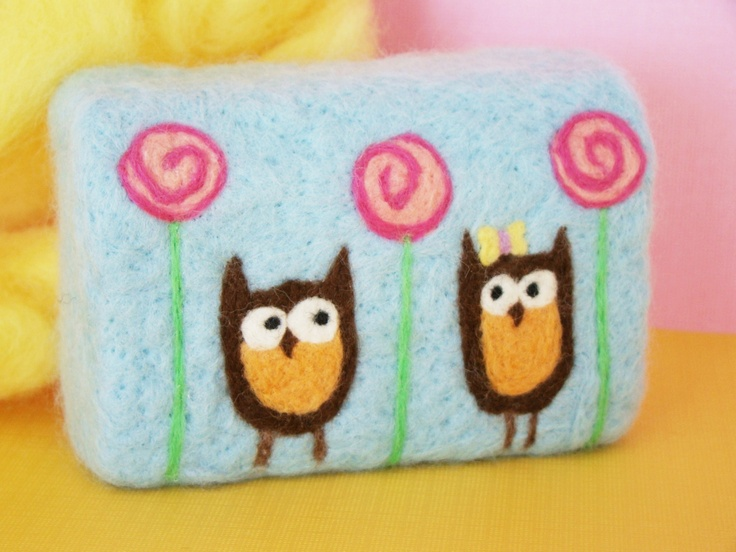 Lollipop Owls Whimsical Woolies Felted Soap. $9.50, via Etsy.