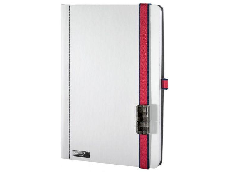 Elegantní zápisník s dvoubarevným Lanybandem a USB flash diskem jako Lanybutton.