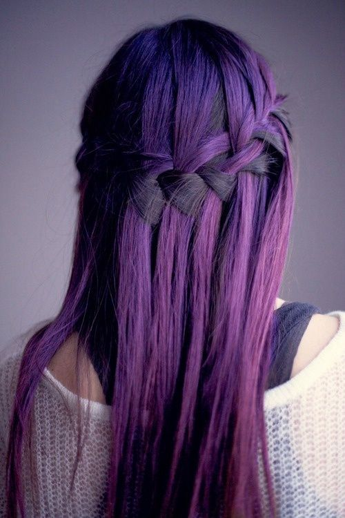 Purple Hair Dye Over Black | purple violet dark hair color ombre cascade braid long