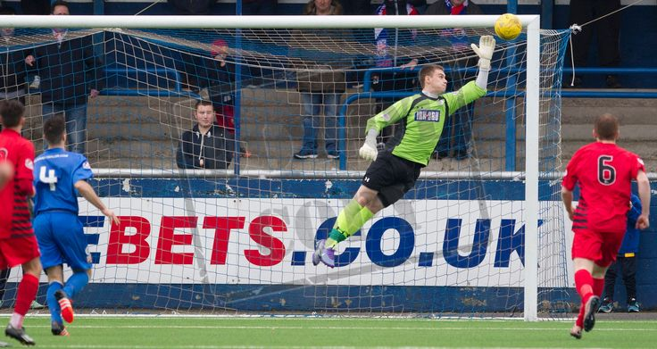 Queen's Park's keeper Wullie Muir can't prevent the ball going in during the SPFL League Two game between Montrose and Queen's Park.