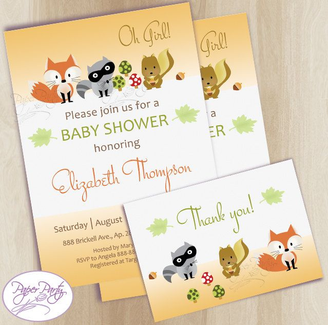 Woodland Baby Shower Invitation Fox Forest Baby Shower Invitations Orange Baby Shower Invitation Invites - Free Thank You Card by PaperPartyDesignUS on Etsy