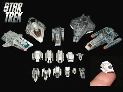 Mini Papercraft Star Trek Shuttle Collection | Tektonten Papercraft r This collection of 1:200 scale Star Trek shuttlecrafts  includes sixteen different paper models. The smallest one (as you can see) is no bigger than the tip of your finger. Several different Star Trek TV shows are represented by the models, including the original Star Trek series, The Next Generation, Voyager, and Deep Space 9. s