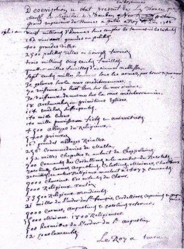 Les statistiques de M. le curé : état de la France en 1706 | Passion Généalogie Normande.