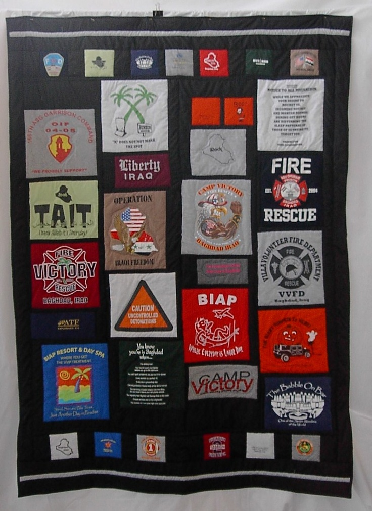 Military quilt. great idea with all those old tshirts and patches