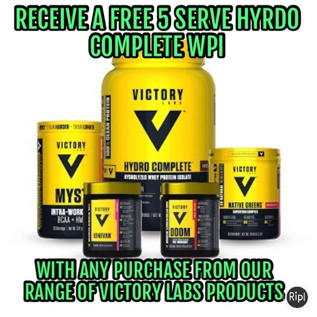 Receive a free 5 serve Hydro Complete WPI with every Victory Labs purchase. Ideal in case of emergencies-ie you run out of protein and all the stores are shut!! #preworkout #fitfam #fitspo #fitness #fitnesslife #motivation #girlsthatlift #inba #compprep #fitspiration #peninsulaclassic2017 #supplements #nutrition #workout #preworkout #shredded #getfit #weights #muscle #vascular #bodybuilding #fitspiration #cardio #ripped #gym #fatburner #training #exercise #weightraining #cutting #sculpting