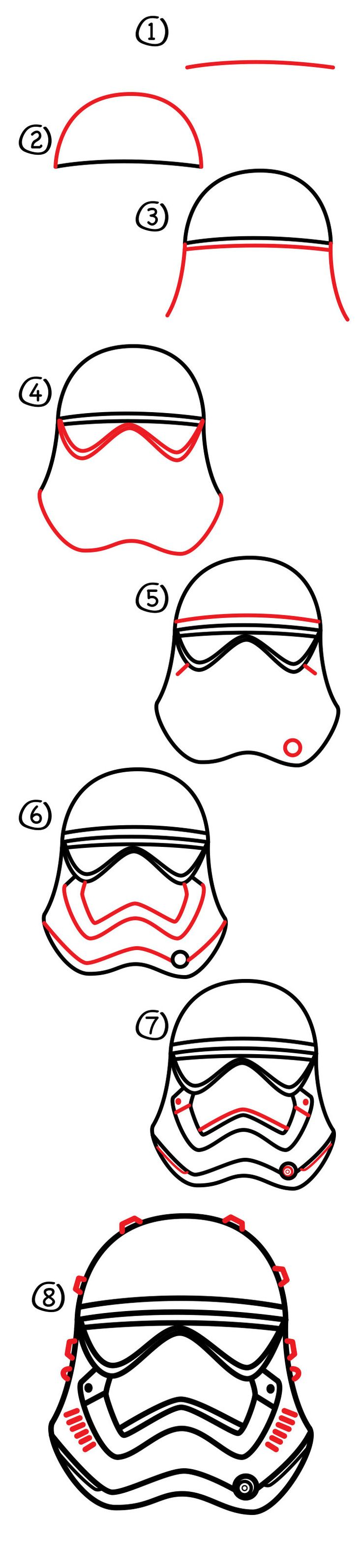 I love Star Wars helmets! Today we're learning how to draw a First Order stormtrooper helmet. Have you seen ouroriginal stormtrooper helmet lesson? And you can count on us doing a lot more helmets…I can't wait to draw Kylo Ren's!