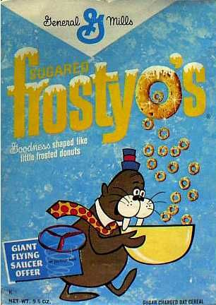 "Frosty O's cereal c. 1964 with Chumley from ""Tennessee Tuxedo"" cartoon"