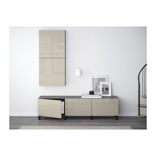 BESTÅ Combinaison rangement tiroirs - brun noir/Selsviken brillant/beige, glissière tiroir, fermeture silence - IKEA