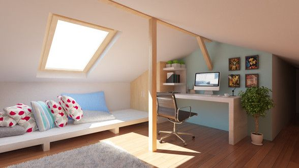 Attic interior design and rendering created by Puncto.ro