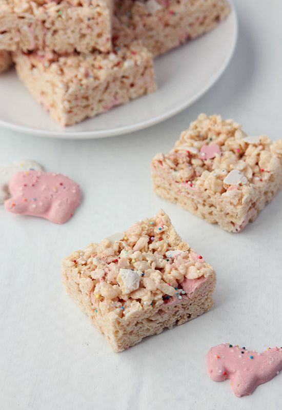 Frosted Animal Cracker Marshmallow Treats