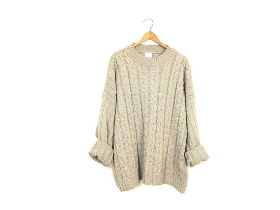 90s Cable Knit Sweater Beige Oatmeal Mock Neck Ribbed Sweater Oversized Preppy Sweater Top Rib Knit Fall Sweater Slouchy Womens XL XXL 2XL