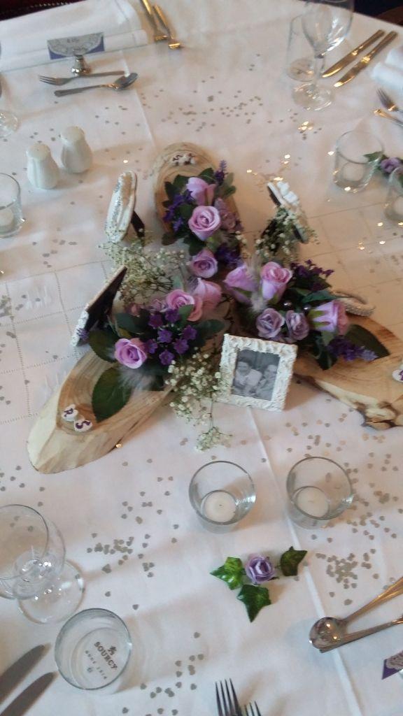 Tafelversiering paars-lila bruiloft