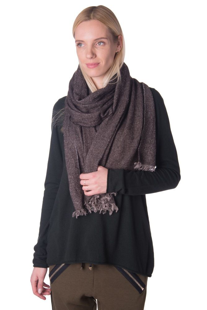 Womens White and Black Winter Scarf Wrap Frayed Thick Shawl Large Wrap Scarves