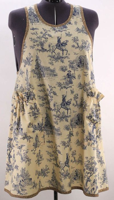 Plus Size No Ties Apron In Blue Toile Flirty Aprons