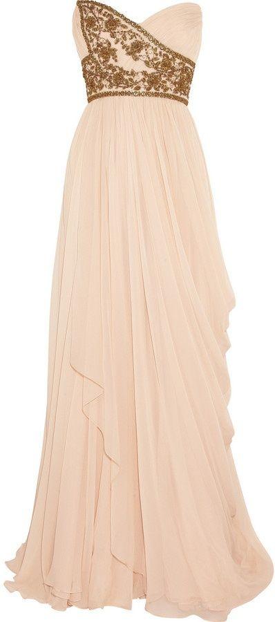 Marchesa Embellished silk-chiffon strapless gown