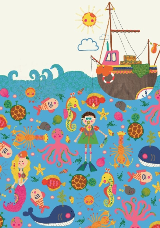 Lucy Rebecca Palmer | Children's Illustration   I really like the almost like pattern arrangement of the sea creatures.