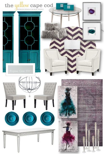 Teal, Purple and Gray Living Room and Dining Room Design Plan